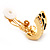 Small C-Shape Diamante Animal Print Clip On Earrings (Gold Tone) - view 5
