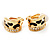 Small C-Shape Diamante Animal Print Clip On Earrings (Gold Tone) - view 11
