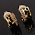 Small C-Shape Diamante Animal Print Clip On Earrings (Gold Tone) - view 9