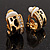Small C-Shape Diamante Animal Print Clip On Earrings (Gold Tone) - view 4