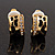 Small C-Shape Diamante Animal Print Clip On Earrings (Gold Tone) - view 7