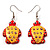 Funky Wooden Turtle Drop Earrings (Orange &amp; Yellow ) - 4.5cm Length