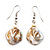 Antique White Shell Bead Drop Earrings (Silver Tone)