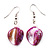 Magenta Shell Bead Drop Earrings (Silver Tone)