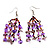 Lavender Semiprecious Chip Drop Earrings - 7cm Length