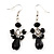 Jet Black Acrylic Bead Drop Earrings (Silver Tone Metal) - 5.5cm Length
