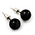 Black Acrylic Stud Earrings (Silver Tone Metal) - 9mm Diameter