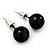 Black Acrylic Stud Earrings (Silver Tone Metal) - 9mm Diameter