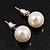Light Cream Lustrous Faux Pearl Stud Earrings (Silver Tone Metal) - 9mm Diameter