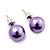 Purple Lustrous Faux Pearl Stud Earrings (Silver Tone Metal) - 9mm Diameter - view 2
