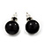 Black Acrylic Stud Earrings (Silver Tone Metal) - 7mm Diameter - view 2