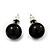 Black Acrylic Stud Earrings (Silver Tone Metal) - 7mm Diameter - view 2