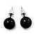 Black Acrylic Stud Earrings (Silver Tone Metal) - 7mm Diameter - view 3