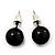 Black Acrylic Stud Earrings (Silver Tone Metal) - 7mm Diameter - view 3