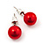Red Lustrous Faux Pearl Stud Earrings (Silver Tone Metal) - 7mm Diameter