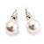White Lustrous Faux Pearl Stud Earrings (Silver Tone Metal) - 7mm Diameter