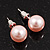 Pale Pink Lustrous Faux Pearl Stud Earrings (Silver Tone Metal) - 7mm Diameter
