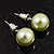 Pale Green Lustrous Faux Pearl Stud Earrings (Silver Tone Metal) - 7mm Diameter
