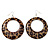 Leopard Print Acrylic Hoop Earrings (Silver Tone Metal) - 6cm Diameter - view 2