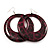 Animal Print Purple Acrylic Hoop Earrings (Silver Tone Metal) - 6cm Diameter - view 2
