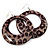 Cheetah Print Acrylic Hoop Earrings (Silver Tone Metal) - 6cm Diameter