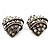 Antique Silver AB Crystal 'Love' Heart Stud Earrings -2.5cm Diameter