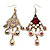 Antique Gold Pink Simulated Pearl & Crystal Chandelier Earrings - 10cm Length - view 5