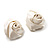Large Bridal Fabric Rose Stud Earrings (Silver Tone Finish) - 3cm Diameter - view 9