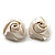 Large Bridal Fabric Rose Stud Earrings (Silver Tone Finish) - 3cm Diameter - view 8