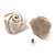 Large Bridal Fabric Rose Stud Earrings (Silver Tone Finish) - 3cm Diameter - view 7