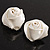 Large Bridal Fabric Rose Stud Earrings (Silver Tone Finish) - 3cm Diameter - view 6