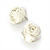 Large Bridal Fabric Rose Stud Earrings (Silver Tone Finish) - 3cm Diameter - view 10