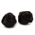 Large Stylish Fabric Rose Stud Earrings (Silver Tone Finish) - 3cm Diameter - view 2