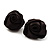 Large Stylish Fabric Rose Stud Earrings (Silver Tone Finish) - 3cm Diameter - view 3