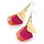 Multicoloured Feather Chain Dangle Earrings (Gold Tone Metal) - 11cm Lenght - view 6