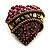 Antique Gold Pink Crystal 'Love' Heart Stud Earrings -2.5cm Diameter - view 3