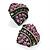 Antique Gold Pink Crystal 'Love' Heart Stud Earrings -2.5cm Diameter - view 7