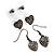 Gun Metal Ball (4mm) & Heart Stud (10mm) & Heart Drop (3cm) Earrings Set