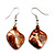 Light Brown Shell Bead Drop Earrings (Silver Tone)