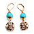 Gold Plated Crystal Ball Drop Earrings - 4cm Length