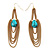 Gold Plated Turquoise Style Chain Drop Earrings - 10cm Length