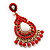Gold Plated Coral Style Bead Chandelier Earrings - 6.5cm Drop - view 2