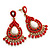 Gold Plated Coral Style Bead Chandelier Earrings - 6.5cm Drop - view 5