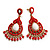Gold Plated Coral Style Bead Chandelier Earrings - 6.5cm Drop - view 8