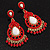 Gold Plated Coral Style Bead Chandelier Earrings - 6.5cm Drop - view 9