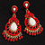 Gold Plated Coral Style Bead Chandelier Earrings - 6.5cm Drop - view 1