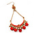 Gold Plated Coral Bead Chandelier Earrings - 8cm Drop - view 5