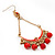 Gold Plated Coral Bead Chandelier Earrings - 8cm Drop - view 3