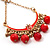Gold Plated Coral Bead Chandelier Earrings - 8cm Drop - view 4