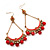 Gold Plated Coral Bead Chandelier Earrings - 8cm Drop - view 6